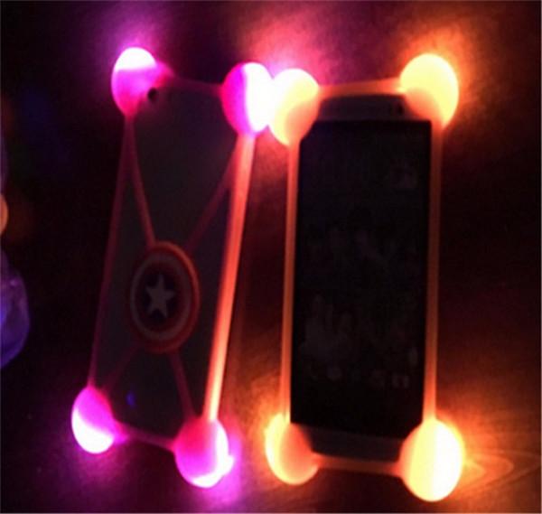 Caixa universal do silicone dos desenhos animados 3D conduziu a luz acima do amortecedor casos macios luminosos para o iphone 7 mais o telefone de Samsung 3,5