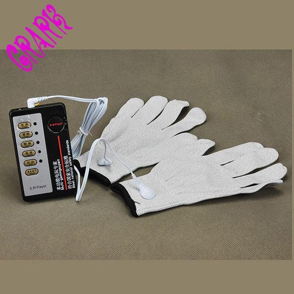 Sex Products Elmetto conduttore per elettroshock e cavi Electro Conductive Estim Gloves Super Elastic, Stimolatore elettrico Shock Toys