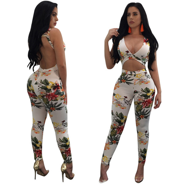 Frauen Sexy Tiefem V-ausschnitt Jumpsuits Strampler Hot Fashion Backless Aushöhlen Verband Body Gedruckt Overall Cocktail Party Clubwear