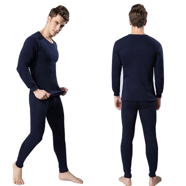 Hiver Chaud Hommes 2Pcs Coton Sous-vêtements Thermiques Ensemble Épaissir Longue Johns Hauts Bas Marine Bleu, Gris Foncé, Gris Clair