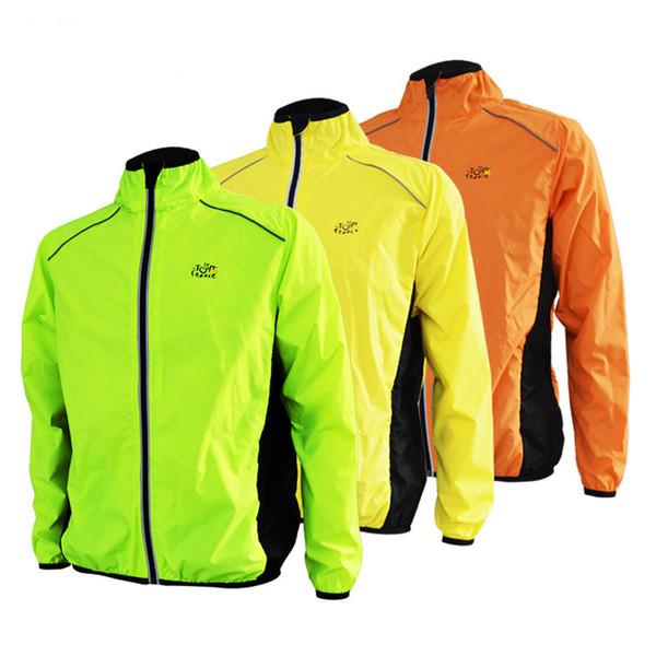 Wholesale- Tour de France Running Jacket Men Sports Bike Cycling Jersey Long Sleeve Jacket Breathable Reflective Wind Rain Coat Windproof