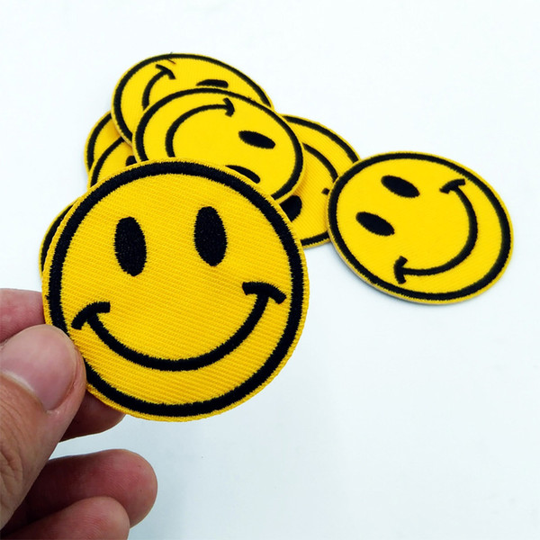 best selling DIY Iron On Smile Emoji Patches Embroidered Applique Sewing Cloth Badge Motif 4.9*4.9cm