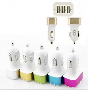 top popular 2016 Car Charger Traver Adapter Car Plug Hot Selling Triple 3 USB Ports Car Charger For iPhone 6s 7 plus samsung s6 s7 edge 2021