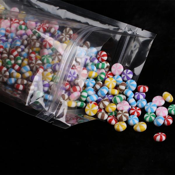 100pcs Durable Self Seal Transparent flat bottom Clear ziplock bags Reusable PET clear plastic zip lock bag 14x20cm