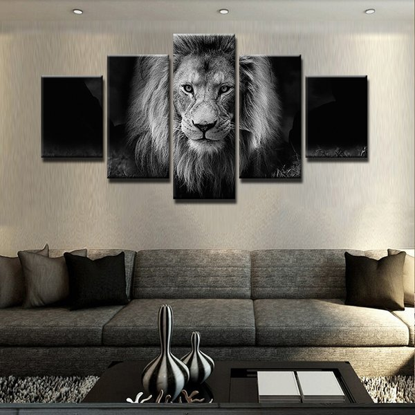 best selling Modern 5 Panel Black and White Animal Lion Canvas Wall Art Picture for Home or Living Room Decoration Gift for Dad Unframed