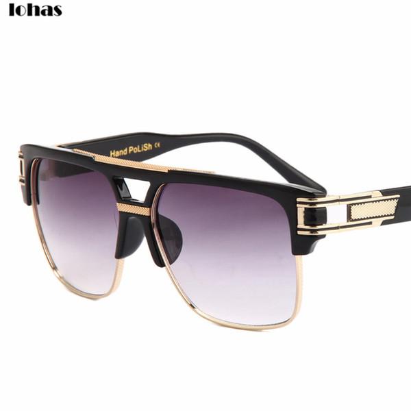 Wholesale-Semi-Rimless Metal Frame And Plate Collocation Sunglasses Men Grandmaster Brand Designer Women Mirror Polarized Sun Glasses