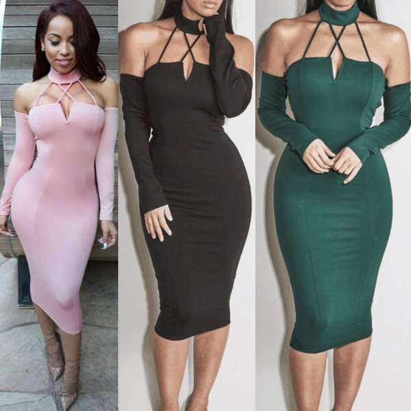 Women Bodycon Bandage Dress New Sexy Red Green Black Hang Neck Backless Hot Lady Dance Party Dress Casual Vestidos