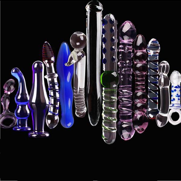 13 stücke sexspielzeug perfect set kristallglas dildo anal butt plug pyrex kristall penis erwachsene weibliche geschlechtsprodukte mit einem sexy würfel