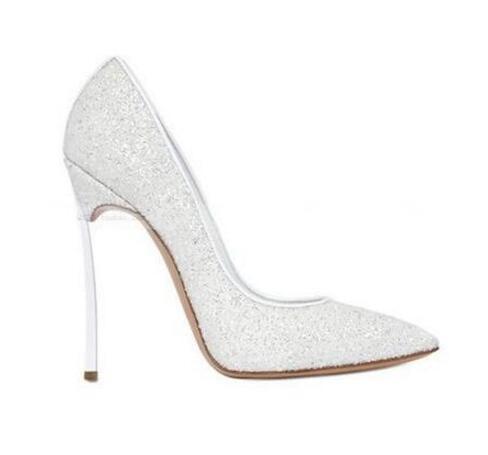 Designer de luxe 2017 Glitter Bling Bling Chaussures Femme Grande Taille 43 Parti Pompes 12 cm Lame Métallique Talons Hauts Chaussures De Mariage Mariée