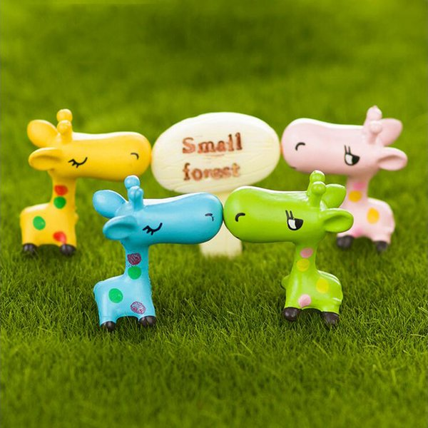 10pcs Kawaii Giraffe Figurines Fairy Garden Miniatures Bonsai Tools terrarium Dollhouse Ornament Kids Toys Zakka Gnome Home Accessories DIY