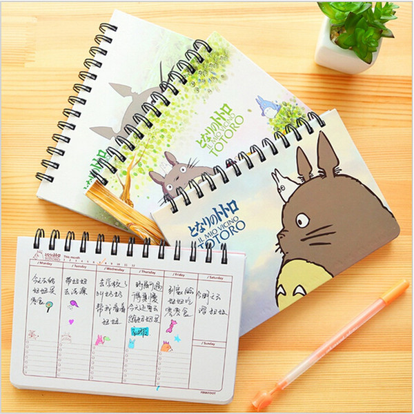 Wholesale- Cute Totoro Weekly plan Spiral notebook Agenda for week Schedule organizer planner Cuadernos office School supplies