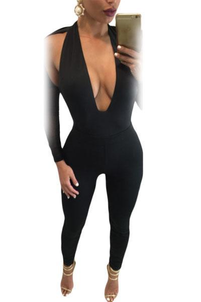 Wholesale- New Backless 2017 Womens Rompers Bodysuit Cutout Black Deep V-Neck Mesh Long Sleeve Jumpsuit Long Pants monos de verano LC64184