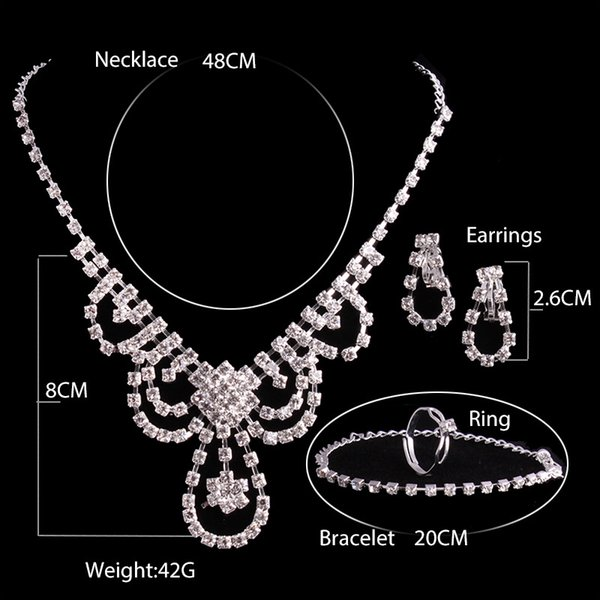 2017 cheap shiny Bridal Jewelry Wedding Bridal Rhinestone Accessories Necklace and Earring Ear Stud Style 4 Pieces Sets Silver Plated New