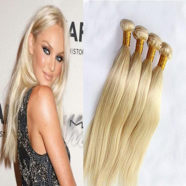 ELIBESS Light Blonde Human Hair Extensions 60 Color 4 Bundles 100g Per Piece Virgin Remy Brazilian Human Hair Weft Thick Ends