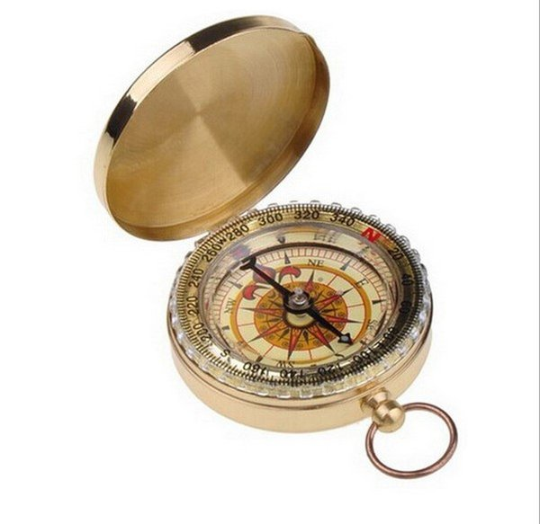 Hot Sale Outdoor Camping Hiking Portable Brass Pocket Golden Double Display Watch Style Compass Navigation Ring Keychain