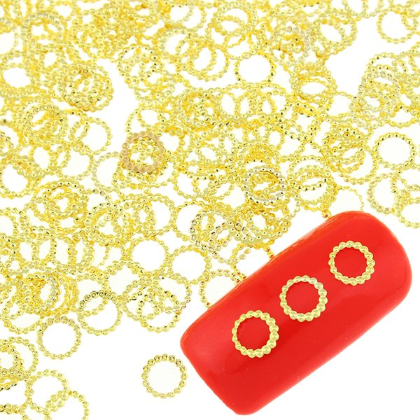 Wholesale- 100 Pcs/Lot Gold Color Copper Round Rings Design Nail Supplies Diy Metal Studs For Nails 3D Charms Decorations Nail Art PJ420