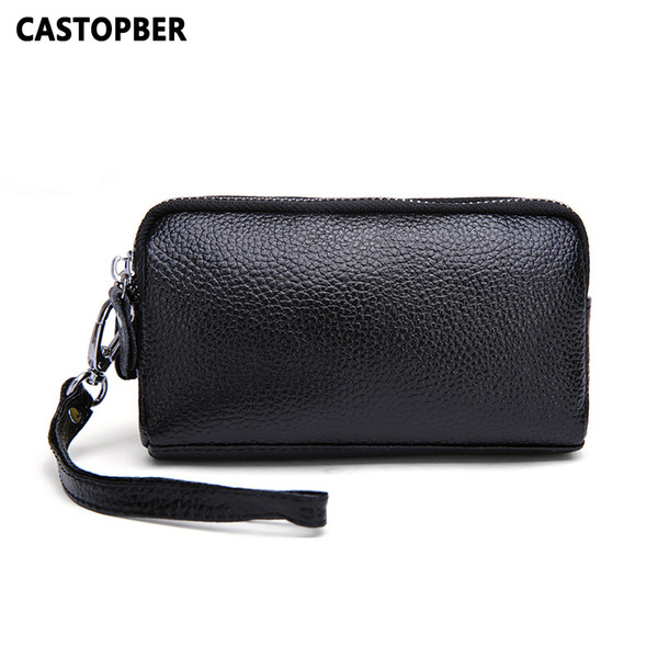 Wholesale- Double Zipper Purse Women Split Leather Coin Purses Small Purse Female Small Bag For Girl Day Clutch Wallet Mobile Phone Bags