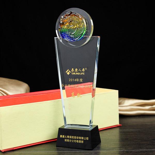 Arowana coloured glaze cup crystal trophy authorization card company business gifts creative crystal medal awards