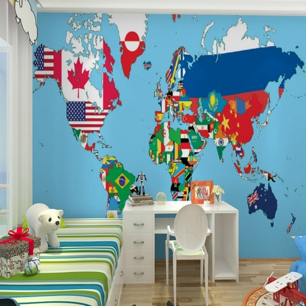 Custom 3d stereo color world map wallpaper living bedroom book room free shipping custom 3d stereo color world map wallpaper living bedroom book room entrance wallpaper mural gumiabroncs Images