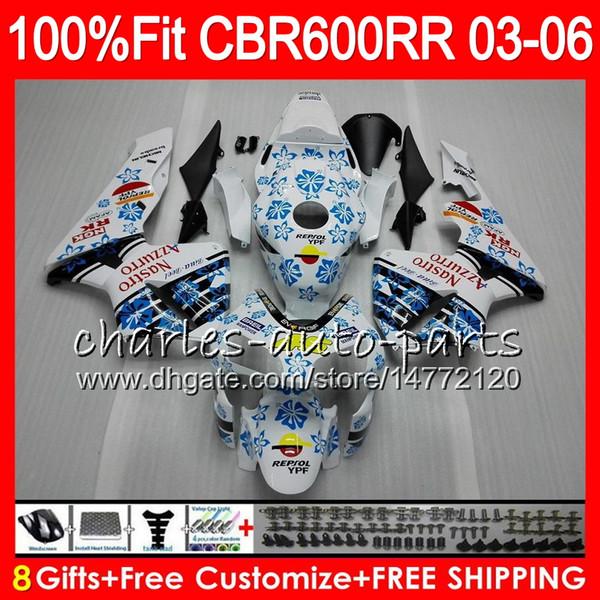 8Regalos 23 Inyección de colores para HONDA CBR 600 RR CBR600RR 03 04 05 06 43HM4 CBR 600RR F5 CBR600F5 CBR600 RR 2003 2004 Fairing blanco negro