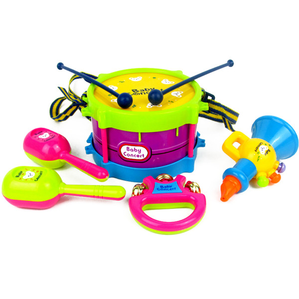 Wholesale- 5pcs Kids Musical Instruments Rattles Bells Early Learning Educational Drum Fun Toys for Newborn Development 0-12 Months