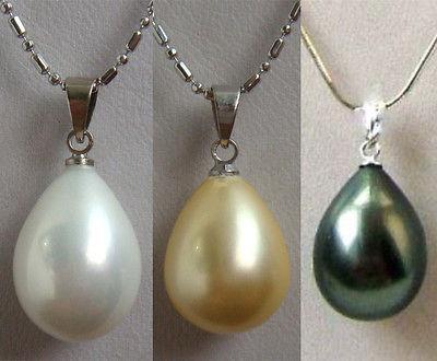 Wholesale cheap charming 11*15mm white/yellow/black shell pearl pendant free chain