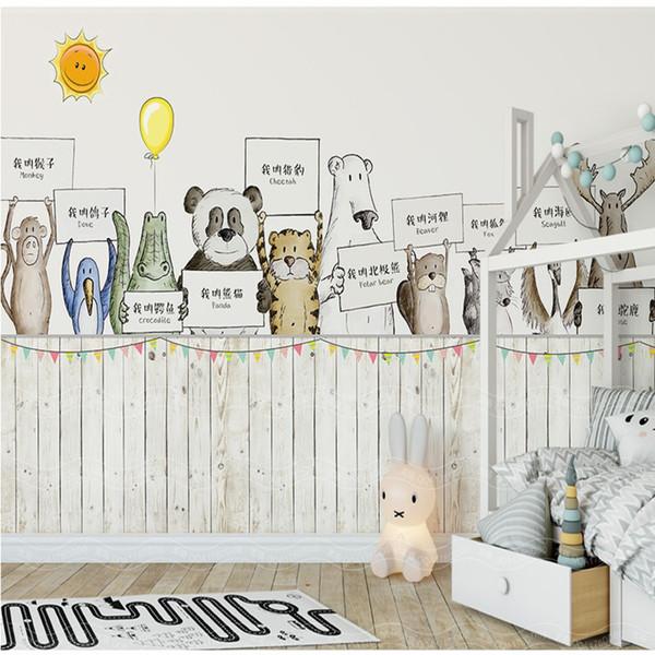 Acheter Thème Nordique Peint À La Main Dessin Animé Nom Papier Peint  Chambre 3d Enfant 3d Animal Chambre En Plein Air Fond D\'écran Fond D\'écran  De ...