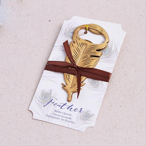 Wedding Favors Gifts Gold Peacock Feather Beer Bottle Opener Party Decoration Supplies Gold Bird Plumage Bottle Lid Opener+DHL Free Shipping