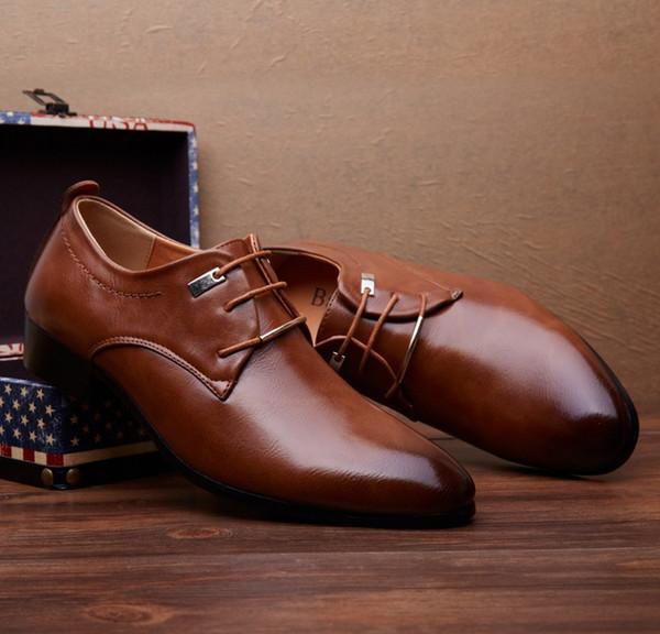 Fashion Classical Men Dress Flat Shoes Luxury Men'S Business Oxfords Casual Shoe Black Brown Leather Derby Shoes Black Brown Pumps Shoes Slippers