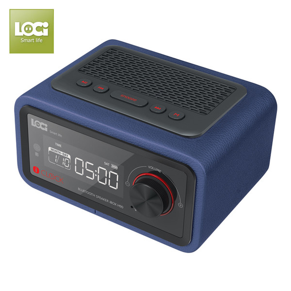 Luxury iBox H90 Wooden Cabinet PU leather Bluetooth Speaker with Calendar Alarm clock FM Radio Hands-free Micphone Wood with Leather Speaker