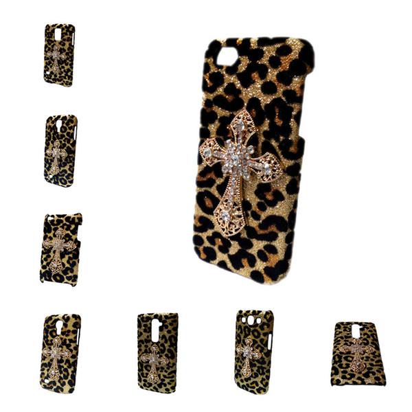 3D Bling Gold Leopard Diamond Rhinestones Cross Hard Back Skin Case Cover for iPhone 6 6S Plus 7 Plus Samsung Galaxy S6 Edge S7 Edge