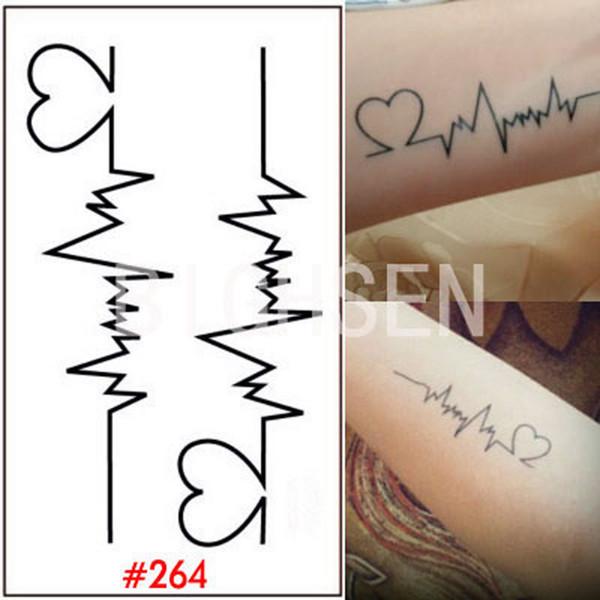 Atacado- 1 Folha de Tatuagem Estêncil Temporária Adesivos Dedo Body Art Etiqueta Do Tatuagem À Prova D 'Água Coração Projeto Tatuagens De Papel Para As Mulheres WTAo264
