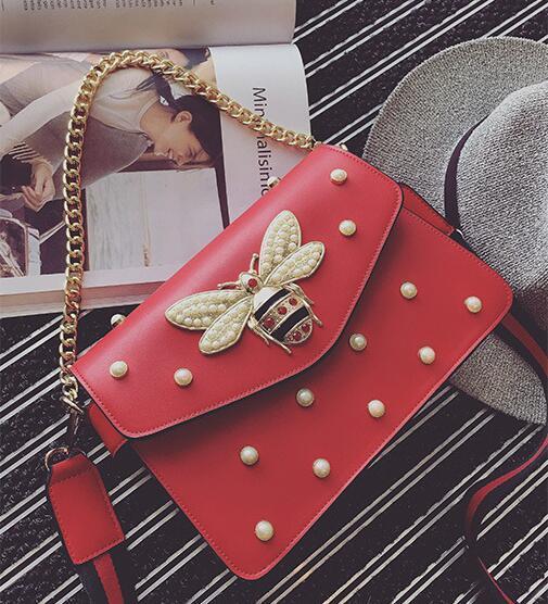 Nuevo bolso de 5 colores precioso Rhinestone bolso de cadena elegante mujer perla de abeja cuero decorativo bolso de mujer bolso