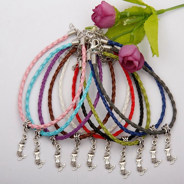 Hot 50pcs Kabbalah Lovely Small Mermaid Charms Pendant Mixed Color Braided Rope Bracelets Fashion Jewelry DIY For Women&Men F739