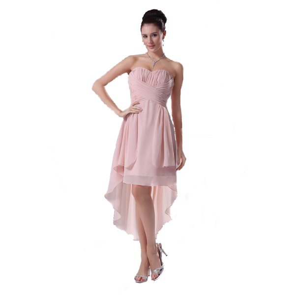 New Brand Competitive Price Pink Chiffon Pleated Cocktail Party Dress Asymmetrical Design Beautiful Ladies Sweetheart Bridesmaid Dress