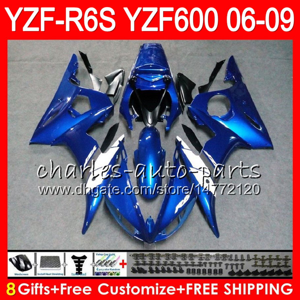 8Gifts 23Color Body Per YAMAHA YZF600 YZFR6S 06 07 08 09 57NO12 blu bianco YZF R6 S YZF 600 YZF-R6S YZF R6S 2006 2007 2008 Kit carenatura 2009