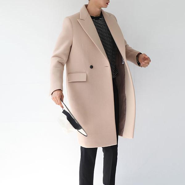 best selling Wholesale- 2017 autumn winter wool coat cotton padden thicken woolen jacket korean style male long windbreaker outwear jacket