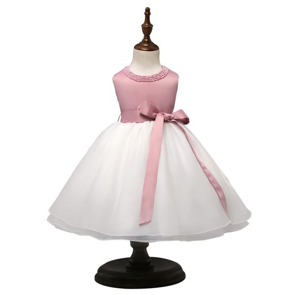 Vente en gros-Bébé Fille Robe 2017 D'été De Mode Rose Blanc Patchwork Anniversaire Robe De Bal Mignonne Bow Cérémonies Parti Princesse Robes De Mariée