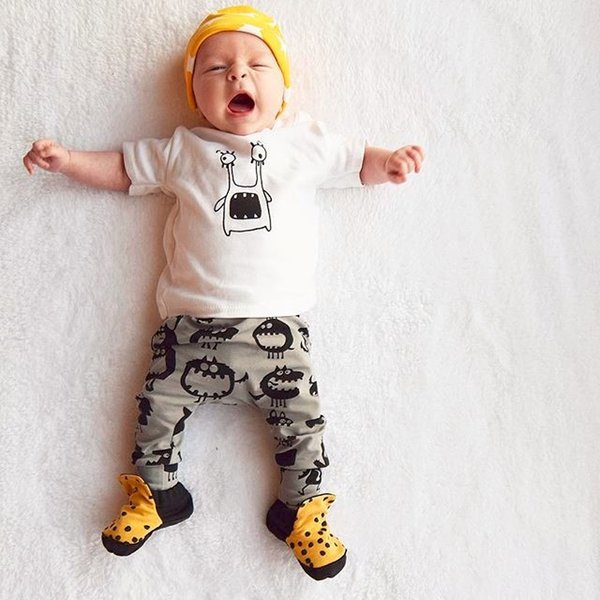 Infants Baby Toddler Summer Cotton Short T-shirts+ Pants Outfits Girls Boys Kids Children Tops Tees Printing Harem Trousers Clothing Sets