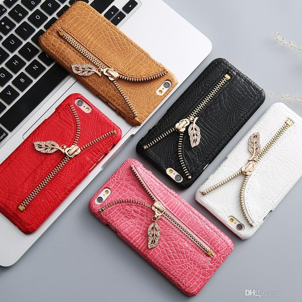 Case For iPhone 7 Plus samsung s6 s7 edge Crocodile Pattern Card Slot Phone Back Cover For iPhone 7 6 6S Plus 5 5S SE +Zipper Diamond
