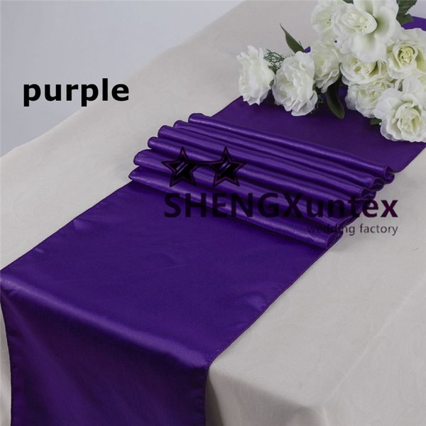 best selling Nice Looking Purple Color Satin Table Runner \ Banquet Table Runner For Wedding Used On Table Cloth