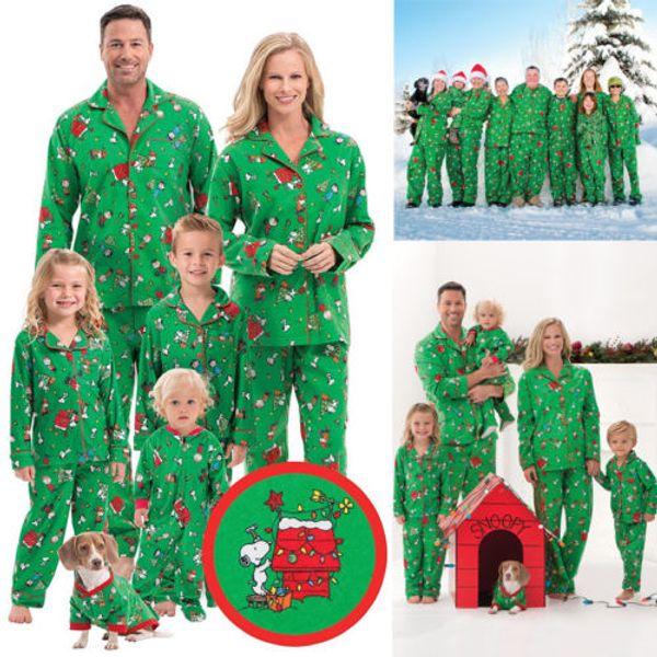 top popular Emmababy Family Matching Outfits Christmas Pajamas Set Men Women Kids Baby Sleepwear Pyjamas 2019