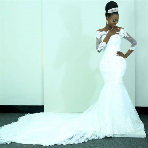 Glamorous Long Sleeve Mermaid Wedding Dresses 2018 Sheer See Through Lace Wedding Gowns With Beaded Crystal Court Train Arabic Bridal Gowns