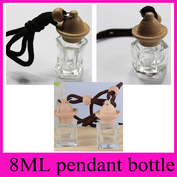 8ml Waist/square 6 cornor/square Car ornaments perfume bottle glass empty bottle hanging bottles DIY stick to drill