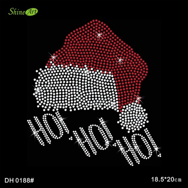 Free shipping Twisted Envy Happy Santa Hat Rhinestone Diamante Crystal Iron On T Shirt Design Transfer DIY DH0188#