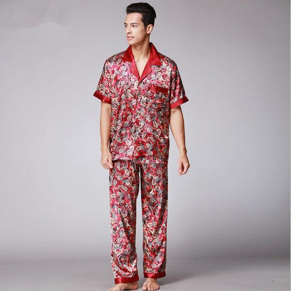 Camicia da notte Paisley in seta Set pigiama estivo da uomo in raso a maniche lunghe da uomo Plus size vestaglia allentata Camicia da notte