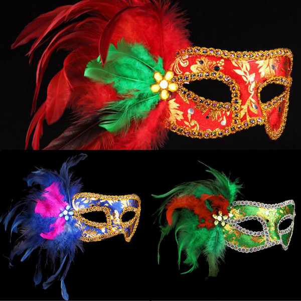 On Sale Side Chicken Feather Venetian Painted Mask Halloween Party Cloth Surrounding Edge Masquerade Mask Party Half Face Carnival Masks
