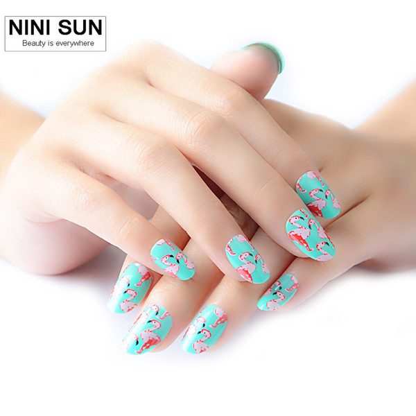 Wholesale 2016 Hot Sale Full Cover Fake Nails Tips Fashion And Cute Flamingo Short