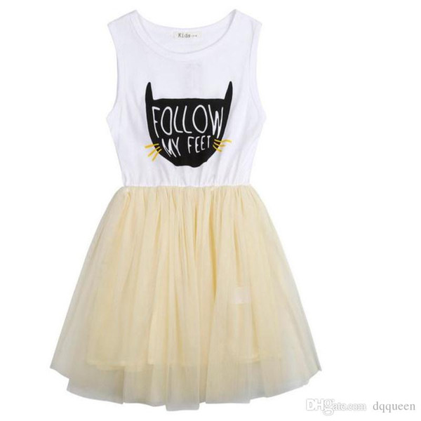 3pcs/set Summer Cute Lace kids Girls Dress TuTU Dresses Cat Printed Children Kids Dresses Sleeveless