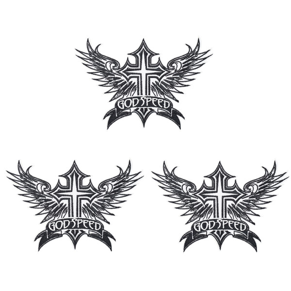 1 PCS Punk God Jesus Cross Wings Patches for Motor Clothing Iron on Transfer Applique Patch for Garment Jacket DIY Sew on Embroidery Badge